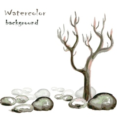 Watercolor background with stones and tree on vector image vector image