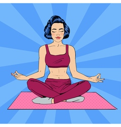 Woman in yoga pose woman meditation pop art banner vector