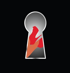 Woman legs behind keyhole vector