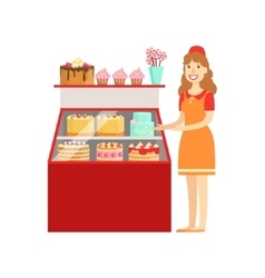 Woman Selling Cakes And Bakery Shopping Mall And vector image vector image
