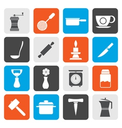 Flat Kitchen and household tools icons vector image