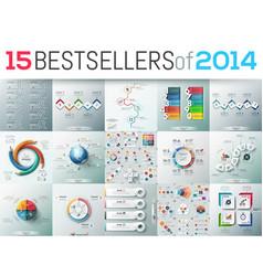 Big set of 15 modern infographic business design vector