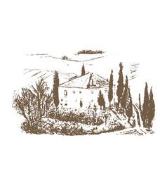 Romantic landscape farm - hand drawn vector