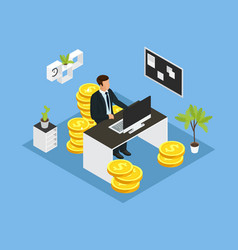 Isometric business financial concept vector