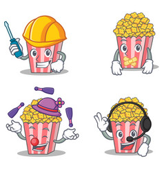 Set of popcorn character with automotive silent vector