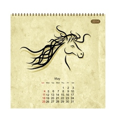 Calendar 2014 may art horses for your design vector