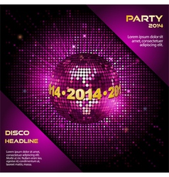 pink disco ball 2014 party background vector image
