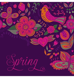 Spring coming card floral background spring theme vector