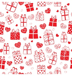 Seamless pattern of hearts and gift boxes vector