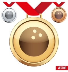 Gold medal with the symbol of a bowling inside vector