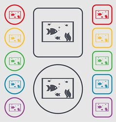 Aquarium fish in water icon sign symbol on the vector