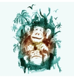 Watercolor monkeys in the jungle vector