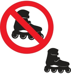 Prohibited sign roller skate icon vector