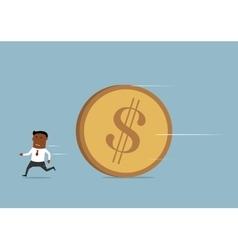 Businessman running away from huge golden coin vector image