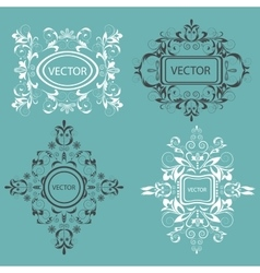 Set monogram design elements baroque style vector