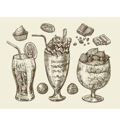 Food dessert drinks Hand drawn soda lemonade vector image