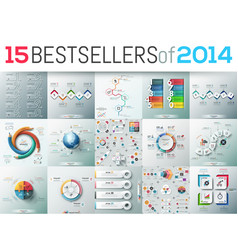 big set of 15 modern infographic business design vector image vector image