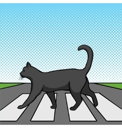 Black cat crossing road pop art style vector