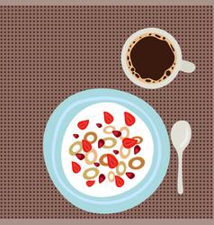 breakfast oatmeal porridge with berries top view vector image