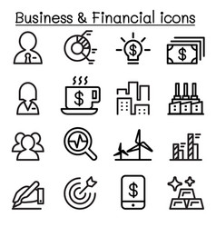 business financial icon set in thin line style vector image vector image