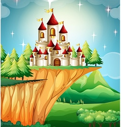 Castle towers on the cliff vector