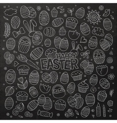 Chalkboard doodles cartoon set of Easter vector image vector image
