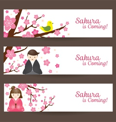 Cherry blossoms and japanese couple banner vector