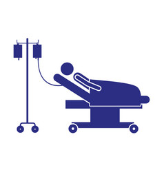 color silhouette pictogram person hospitalized in vector image