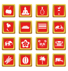 Costa rica icons set red vector