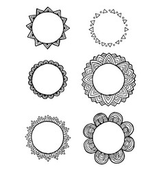 design of vintage mandala doodle elements frames vector image vector image