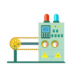 Factory conveyor on packing icon vector