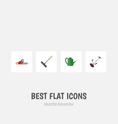 flat icon dacha set of hacksaw grass-cutter vector image