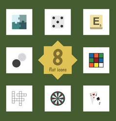 Flat icon play set of cube backgammon mahjong vector