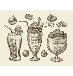 Food dessert drinks hand drawn soda lemonade vector