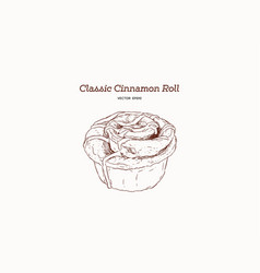 Hand drawn sketch style classic cinnamon roll vector