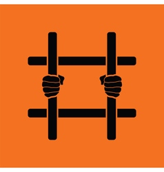 Hands holding prison bars icon vector image vector image