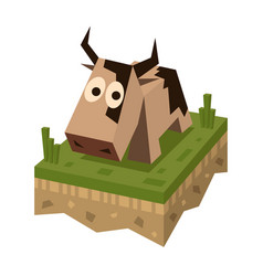 isometric flat brawn cow on the tile vector image vector image