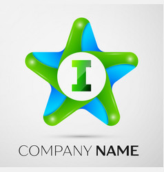 Letter i logo symbol in the colorful star on grey vector
