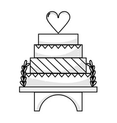 line delicious and sweet cake to celebrate design vector image vector image