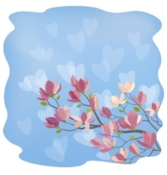 Magnolia flowers and hearts vector