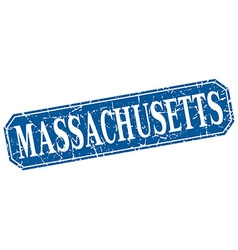 Massachusetts blue square grunge retro style sign vector