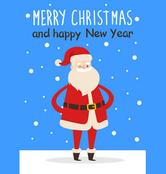 merry christmas happy new year poster santa snow vector image