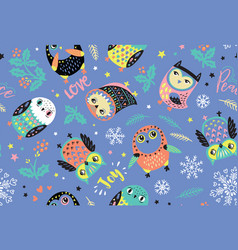 Merry christmas owls pattern cute holidays vector