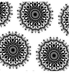 pattern monochrome flowers mandala decorative vector image