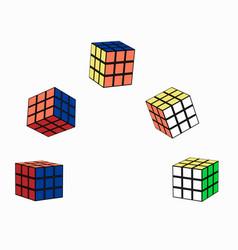 Puzzle cube in flight vector