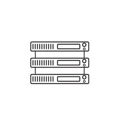 Server line icon network storage outline vector