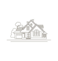 Sketch design of house vector