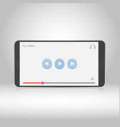 Smartphone with video player on the screen vector