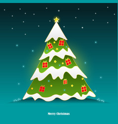 snow falling on the green christmas tree vector image