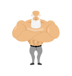 Strong grandfather fitness retired athlete old vector